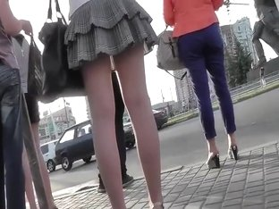 Upskirt when she stepped forward