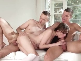 Euro Couple In Bisex Threesome