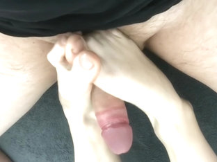 Amateur footjob #8 with ballbusting, kicking and cum