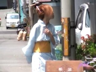Redhead in traditional clothes got boob sharked on a street