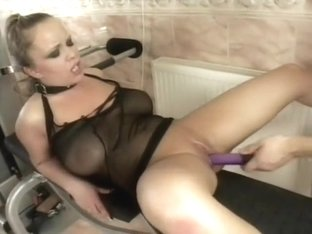 Kinky blonde on a leash has a hung stud drilling her holes in the gym