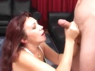 Russian mature gives a realy nice handjob and titjob