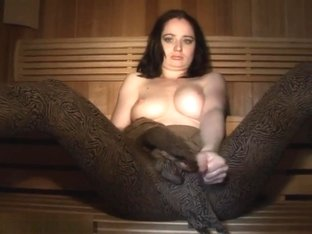 zentai girl in sauna room