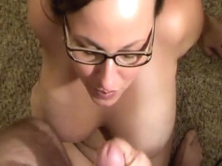 Nerdy beauty with large milk cans got it all over her face
