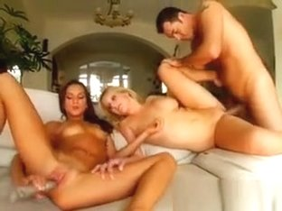 A Lucky Guy Takes Turns Fucking These Sweet Babes. One Girl