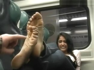 Priya tickled on a train