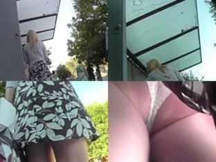 Bubble-butt blonde in sexy skirt, waiting for the bus