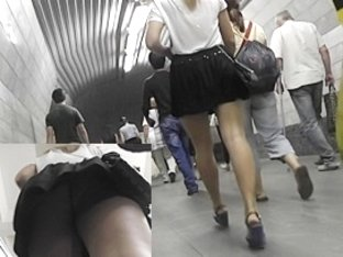 Blond gal legal age teenager up petticoat on escalator