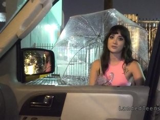 Big ass teen bangs in the car at rainy night