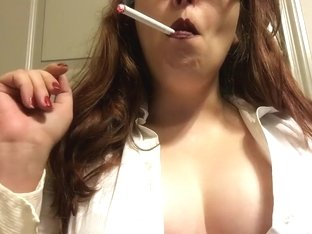 Chubby Brunette Teen Smoking White Filter 100 - Big Perky Tits - Big Lips