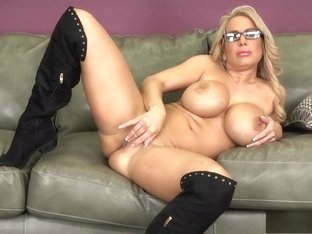 Big tit blonde Alyssa shows off her stuff before she works his dick