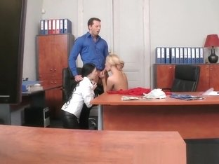 Anal sex threesome at the office