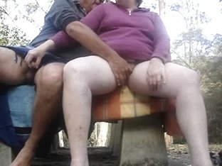 Masturbating jointly outdoors on a juicy day