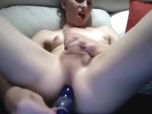 Crazy Amateur Shemale record with Dildos/Toys, Masturbation scenes
