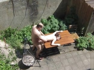 Voyeurs filming teen bitch fucking with old janitors on the terrace