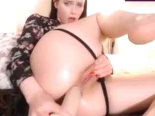 Pale brunette perfect cameltoe pussy fucking ass with dildo