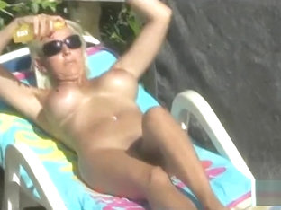 British Milf JB naked sunbathing & blowjob
