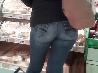 Woman in tight jeans pants with nice ass
