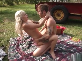 Tattooed blonde cutie with big boobs gets pumped full of cock outside