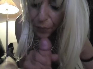 Blonde chick milking cock