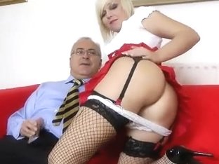 Blond with nylons fucking old fellow
