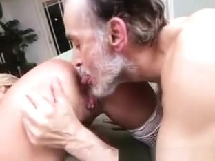 Blonde Teen Girl With Big Fake Tits Riding On Old Mans Dick