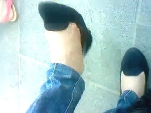 amazing candid flats shoeplay (with nylon feet)