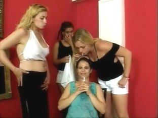 slave dominated with spit by 3 bitches
