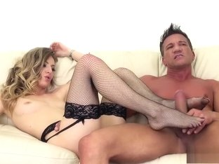Desirable blonde in black stockings Natasha Starr gets drilled rough