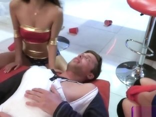 Superhero Babes Sizzling Orgy In A Halloween Party