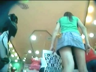 Teen asses upskirt in the mall