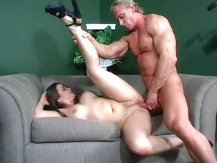 A tiny girl gets her wet pussy dominated by a well hung stud