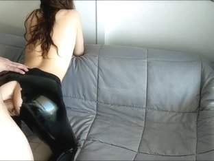 Step Brother Abuse & Rips Sister's Leather Pants Cums On Her Big Oily Ass