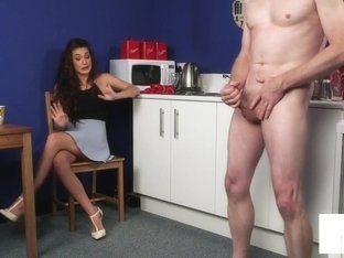 British Office Voyeur Encourages Sub To Tug