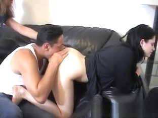 Two mistresses got their ass holes licked by an ass cleaner