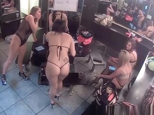 Sexy hot strippers in their change room