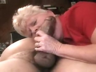 Mature blonde whore sucking thick black cock and swallowing seed as hubby films