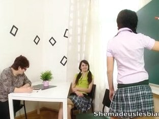 Amanda and her sexy school mate are brought into their teachers class after school