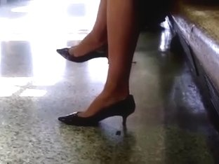 The Train Station Sexy Brunette legs and feet Part 1
