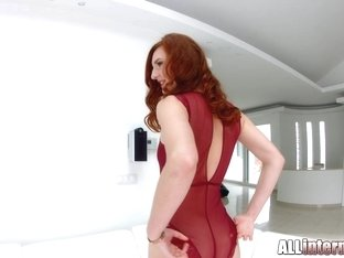 Allinternal long legged redhead gets a creampie