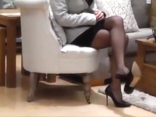 Hot milf shopping in seamed stockings and high heels