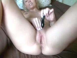 German Amateur Blonde Masturbating on Bed + Analdildo