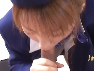 Japanese stewardess took a break to suck a flesh meat