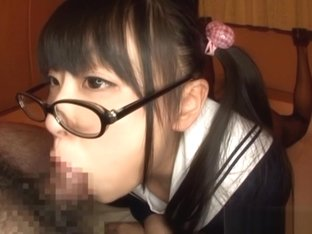 Airi Satou Asian teen in glasses gives pov blowjob