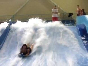 Sexy flowrider bikini downblouse in the aquapark