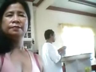 Random concupiscent Filipino lady wanted to flash her large milk cans