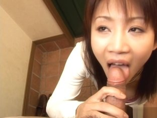 Ami Kitazawa sucks cock and slurps cum from her off her hand!