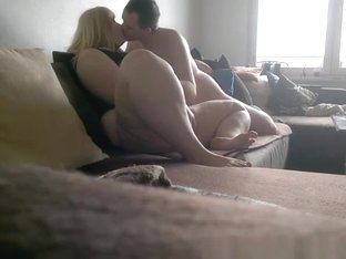 Fat blonde fucked in the couch