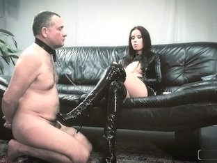 Cruel Anette humiliates her slave and uses him as a human ashtray
