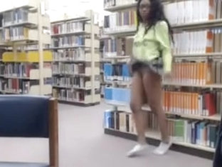 Flashing her pussy in a public library